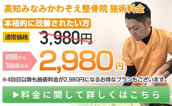 みなみかわぞえ整骨院施術料金:初回から3回目まで2,980円
